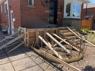 Formed new porch and walkway